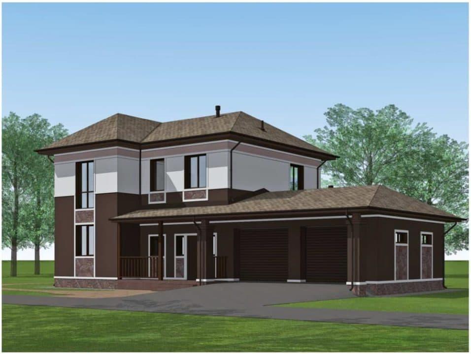 "Проект двухэтажного дома ""Доргар"" с фасадом из штукатурки (205 м2) - Фасад 1"