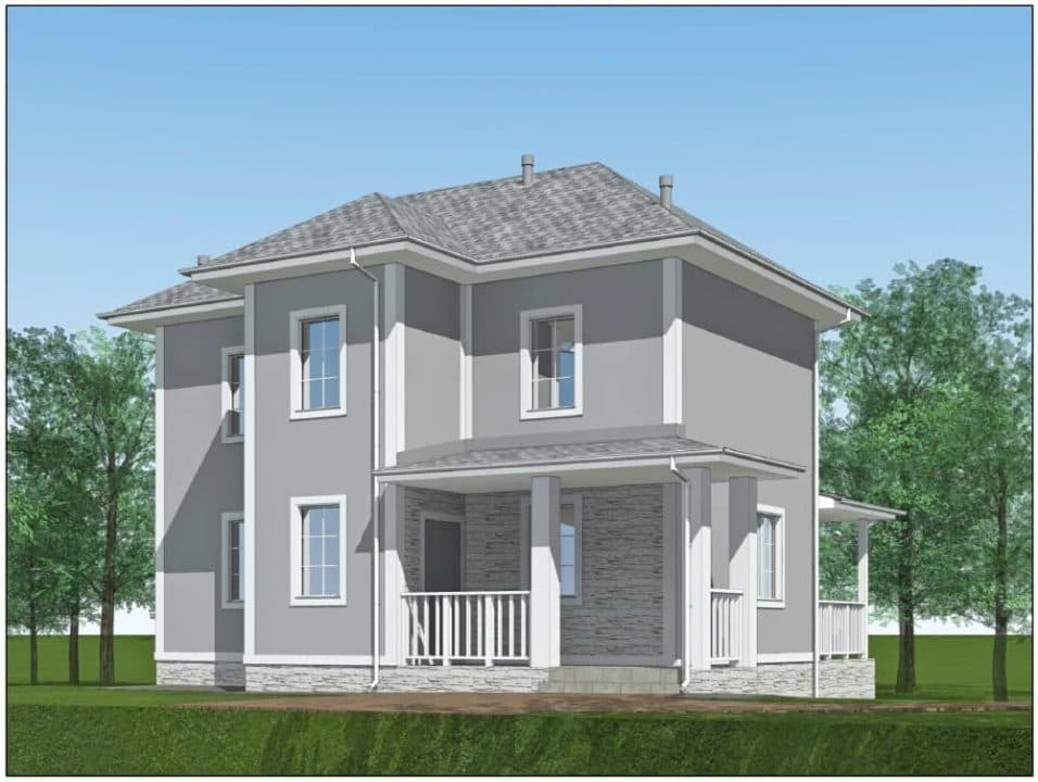 """Проект двухэтажного дома """"Ниро"""" с двумя входами (131 м2) - Фасад 1"""