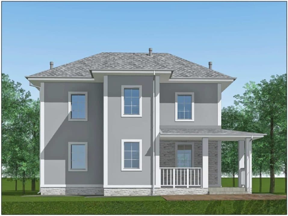 """Проект двухэтажного дома """"Ниро"""" с двумя входами (131 м2) - Фасад 2"""