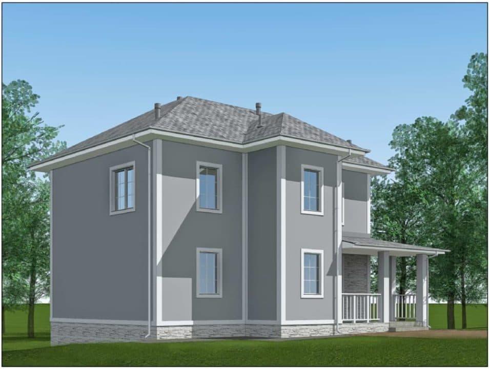 """Проект двухэтажного дома """"Ниро"""" с двумя входами (131 м2) - Фасад 3"""