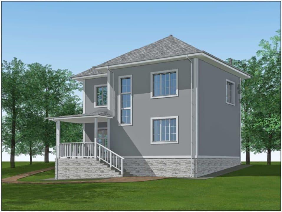 """Проект двухэтажного дома """"Ниро"""" с двумя входами (131 м2) - Фасад 4"""