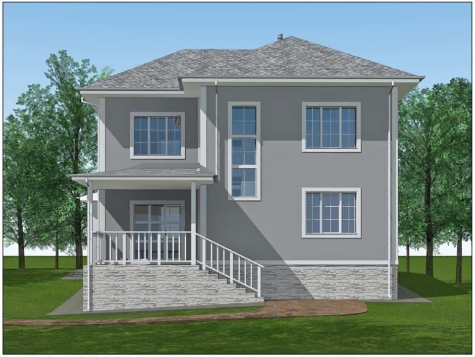 """Проект двухэтажного дома """"Ниро"""" с двумя входами (131 м2) - Фасад 5"""