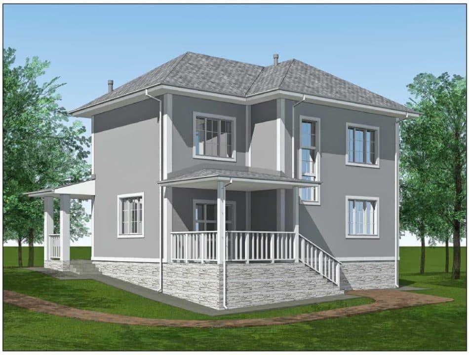 """Проект двухэтажного дома """"Ниро"""" с двумя входами (131 м2) - Фасад 6"""