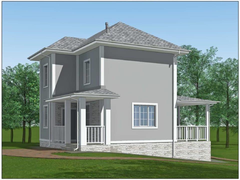 """Проект двухэтажного дома """"Ниро"""" с двумя входами (131 м2) - Фасад 7"""