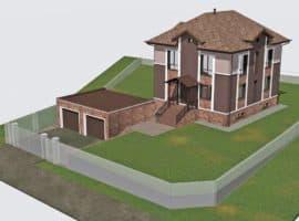 """Проект двухэтажного дома """"Анклав"""" с цоколем (210 м2) - Фасад 1"""