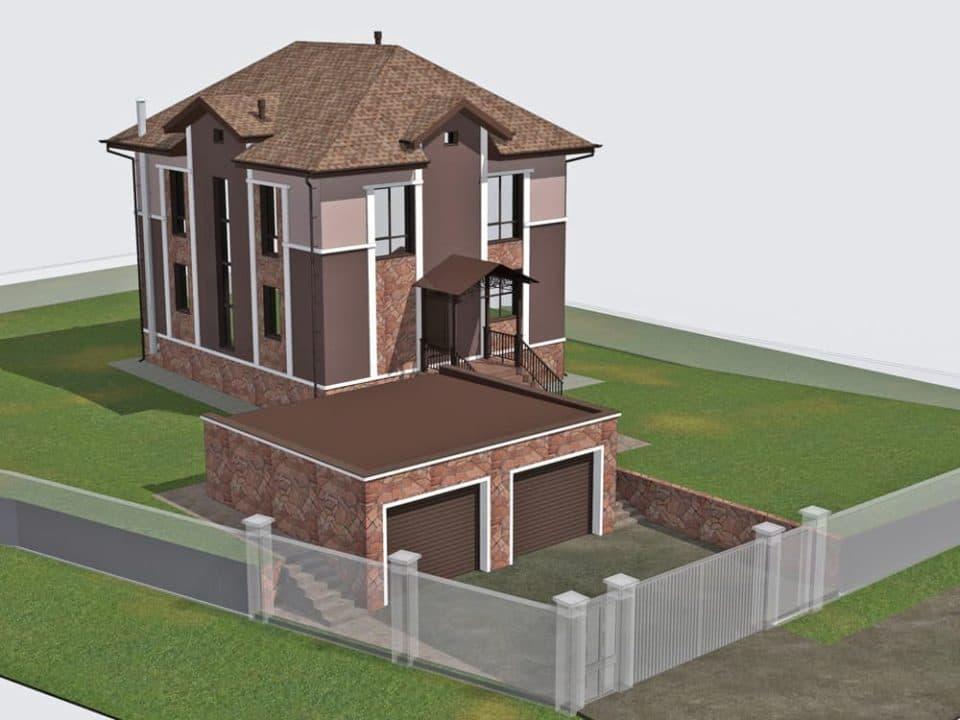 """Проект двухэтажного дома """"Анклав"""" с цоколем (210 м2) - Фасад 2"""