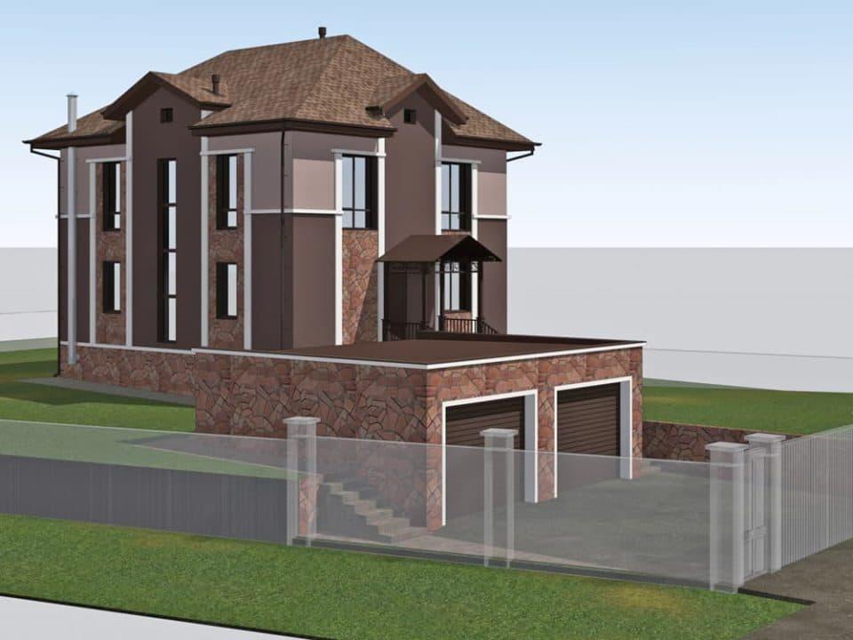 """Проект двухэтажного дома """"Анклав"""" с цоколем (210 м2) - Фасад 3"""