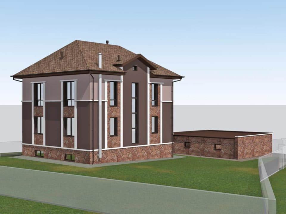 """Проект двухэтажного дома """"Анклав"""" с цоколем (210 м2) - Фасад 4"""