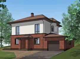 """Проект двухэтажного дома с эркерами """"Джукент"""" c комбинированным фасадом (215 м2) - Фасад 1"""