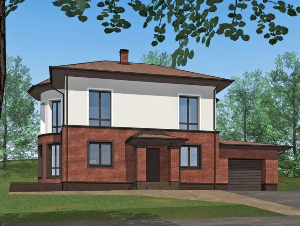 """Проект двухэтажного дома с эркерами """"Джукент"""" c комбинированным фасадом (215 м2) - Фасад 2"""