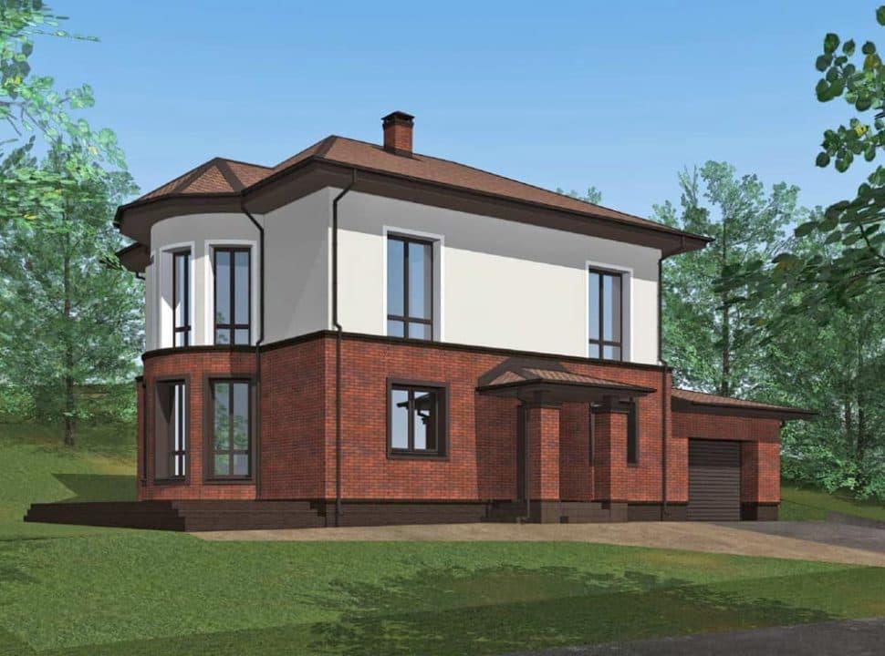 """Проект двухэтажного дома с эркерами """"Джукент"""" c комбинированным фасадом (215 м2) - Фасад 3"""