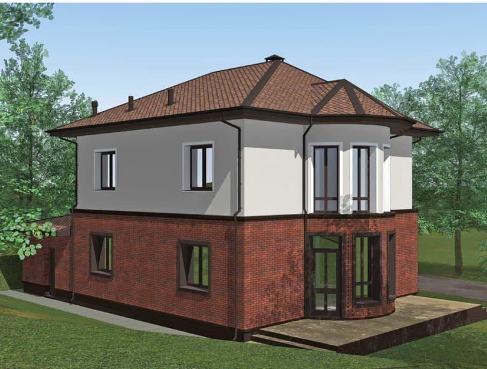 """Проект двухэтажного дома с эркерами """"Джукент"""" c комбинированным фасадом (215 м2) - Фасад 4"""