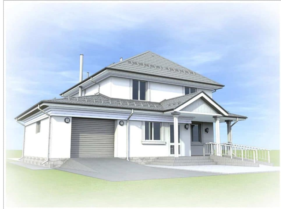 "Проект двухэтажного дома ""Цицерон"" с гаражом (240 м2) - Фасад 3"