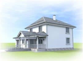 "Проект двухэтажного дома ""Цицерон"" с гаражом (240 м2) - Фасад 1"