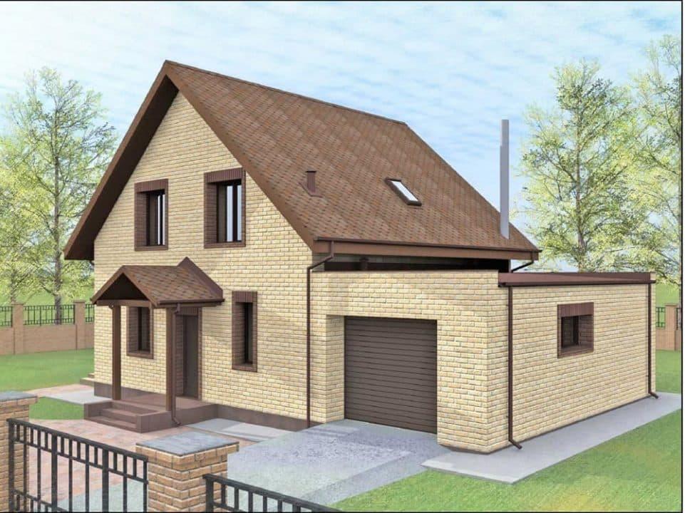 """Проект дома с мансардой """"Богимон"""" с двухскатной кровлей простой формы (144 м2) - Фасад 1"""