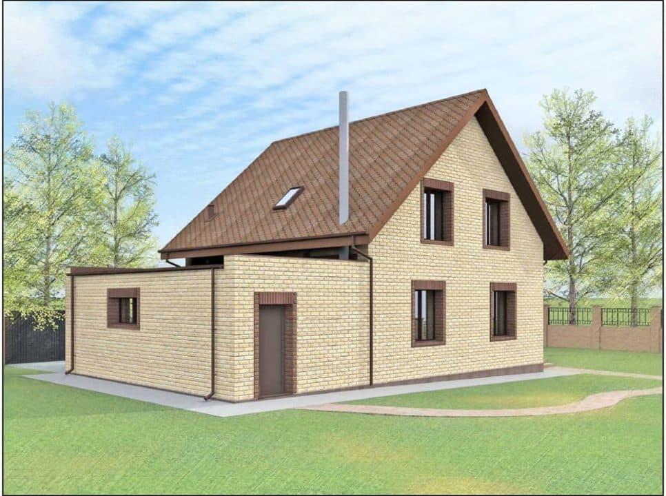 """Проект дома с мансардой """"Богимон"""" с двухскатной кровлей простой формы (144 м2) - Фасад 2"""