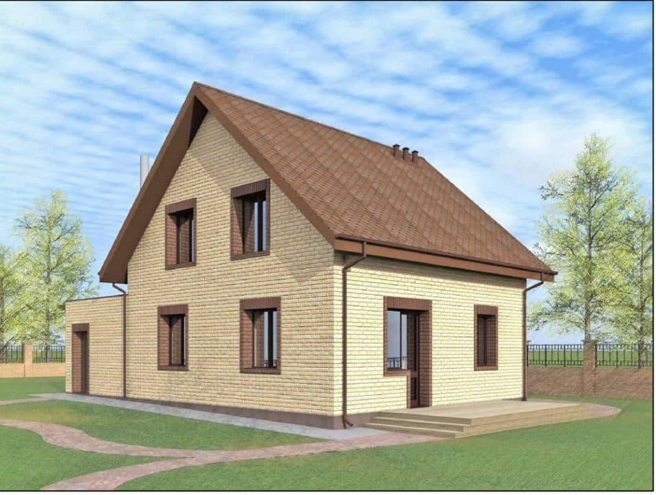 """Проект дома с мансардой """"Богимон"""" с двухскатной кровлей простой формы (144 м2) - Фасад 3"""