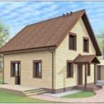 """Проект дома с мансардой """"Богимон"""" с двухскатной кровлей простой формы (144 м2) - Фасад 4"""