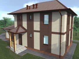 """Проект двухэтажного дома """"Урогорос"""" с гаражом и крыльцом (180 м2) - Фасад 1"""
