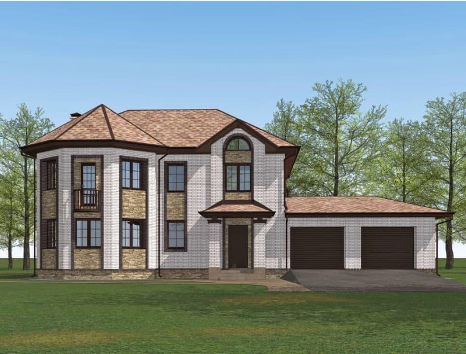 """Проект двухэтажного дома с эркером """"Герольд"""" (230 кв. м.) - Фасад 7"""