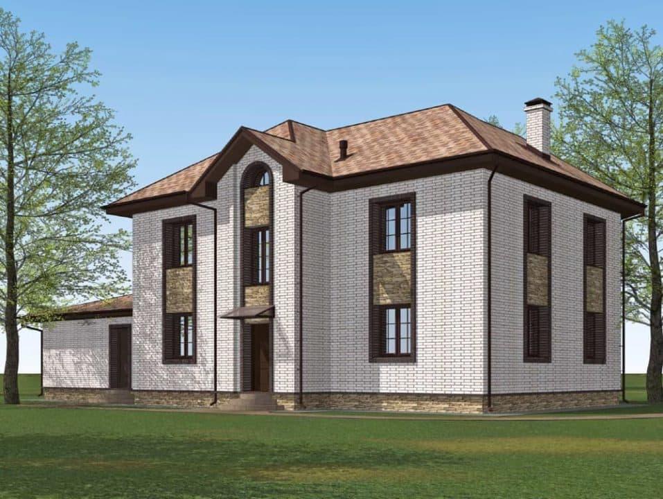 """Проект двухэтажного дома с эркером """"Герольд"""" (230 кв. м.) - Фасад 5"""
