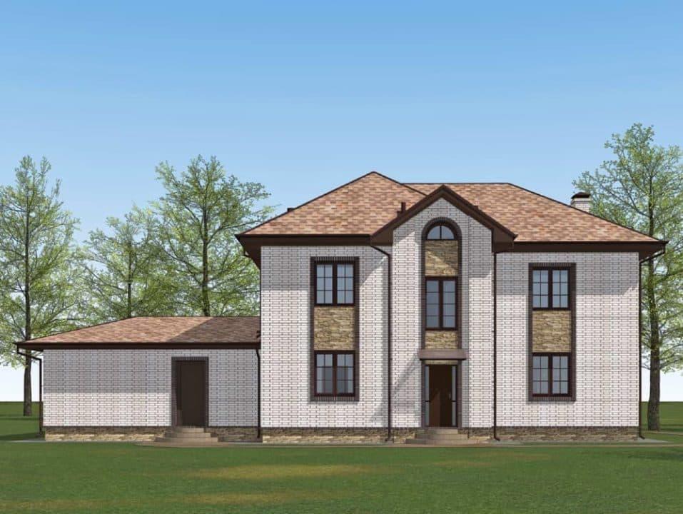 """Проект двухэтажного дома с эркером """"Герольд"""" (230 кв. м.) - Фасад 4"""