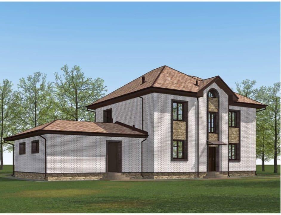 """Проект двухэтажного дома с эркером """"Герольд"""" (230 кв. м.) - Фасад 3"""