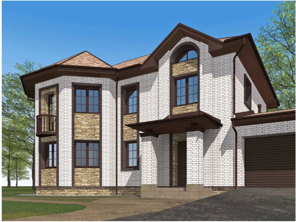 """Проект двухэтажного дома с эркером """"Герольд"""" (230 кв. м.) - Фасад 2"""