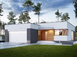 """Проект одноэтажного дома """"Мифрин"""" из кирпича (175 кв.м) - Фасад 1"""