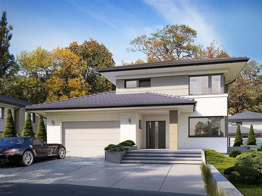 """Проект двухэтажного дома """"Тиктон"""" с балконом, террасой и панорамными окнами (156 кв.м.) - Фасад 2"""