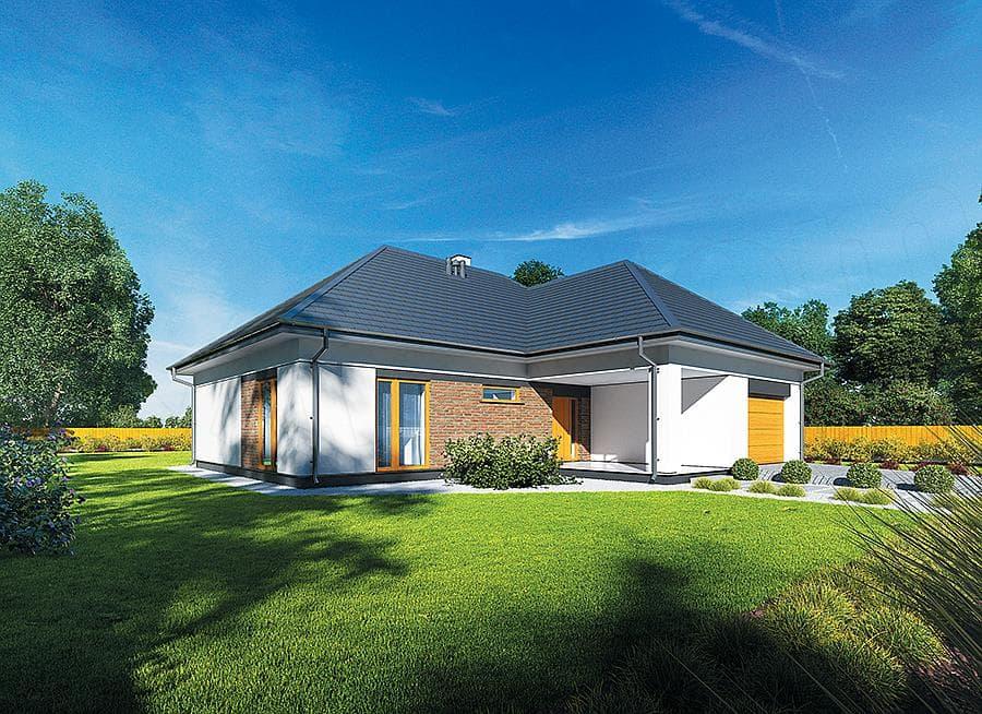 """Проект небольшого одноэтажного дома """"Мифрин"""" 15 на 14 (146 кв.м) - Фасад 2"""