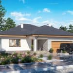 "Проект одноэтажного дома с гаражом ""Зигмунт"" 15 на 17 (132 м2) - Фасад 2"