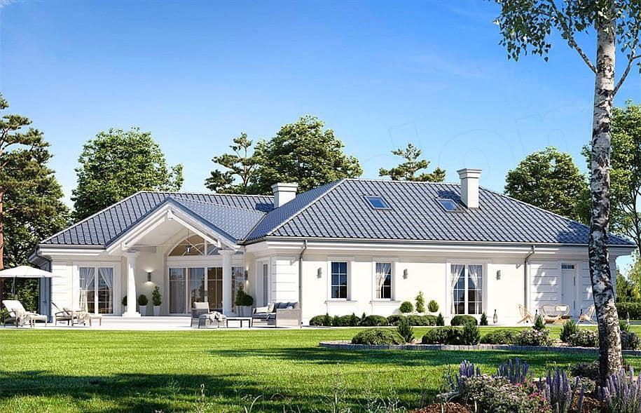 """Проект одноэтажного дома """"Абраам"""" в классическом стиле (160 м2) - Фасад 1"""
