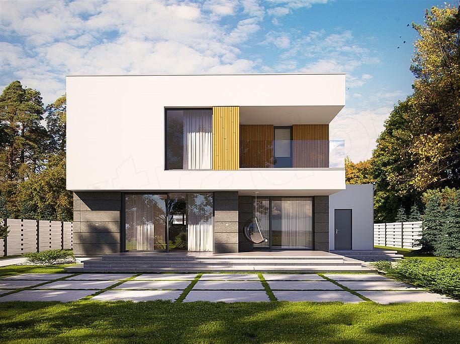 """Проект двухэтажного дома """"Доминус"""" с гаражом 16 на 13 (233 кв.м.) - Фасад 2"""