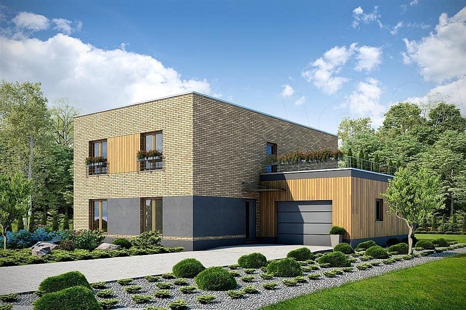 """Проект двухэтажного дома """"Поли"""" из газобетона с плоской кровлей (213 кв.м.) - Фасад 4"""