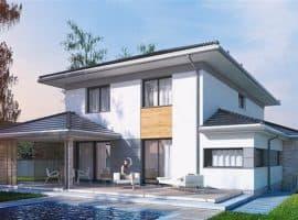 """Проект двухэтажного дома """"Вагрим"""" из газобетона с 3 спальнями (213 кв.м.) - Фасад 1"""