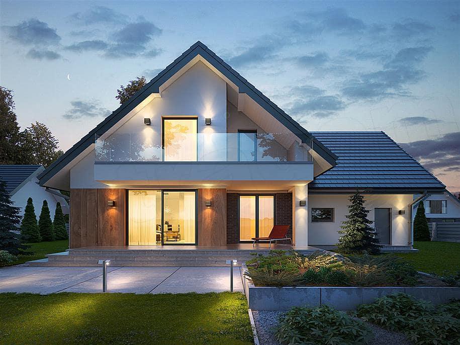 """Проект двухэтажного дома """"Оригин"""" в европейском стиле с гаражом на 2 авто (163 кв.м.) - Фасад 2"""