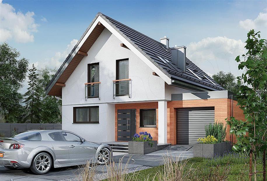 """Проект дома мансардного типа """"Жерам"""" с кухней-гостиной 12 на 12 (120 кв.м.) - Фасад 6"""