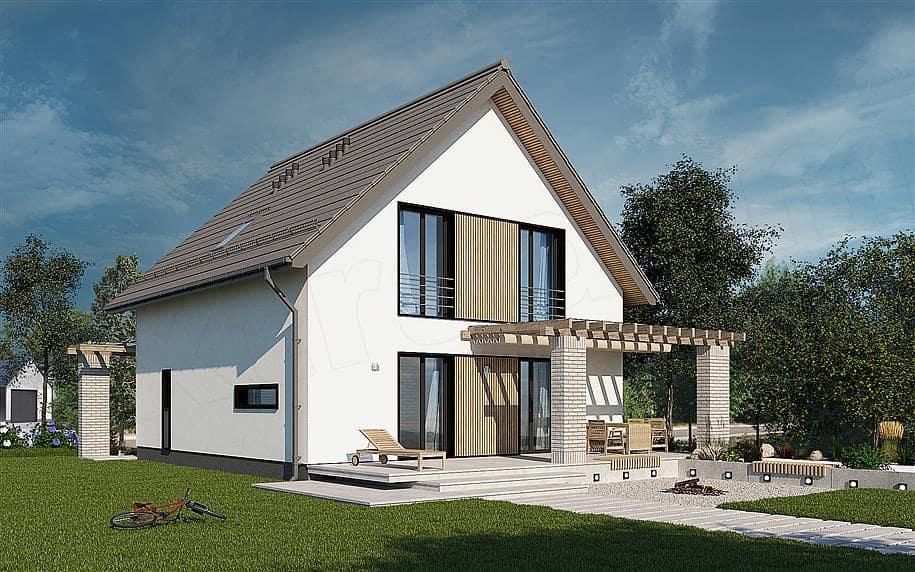 """Проект дома мансардного типа """"Фрао"""" в современном стиле с гаражом (115 кв.м.) - Фасад 3"""