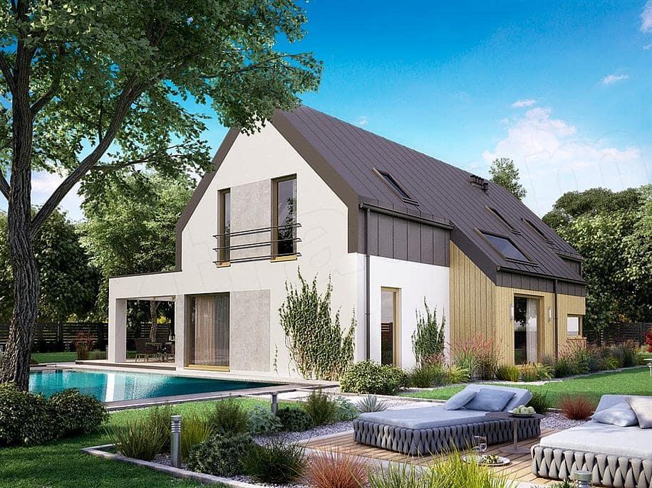 "Проект дома мансардного типа ""Никрон"" с 5 спальными комнатами (207 кв.м.) - Фасад 1"