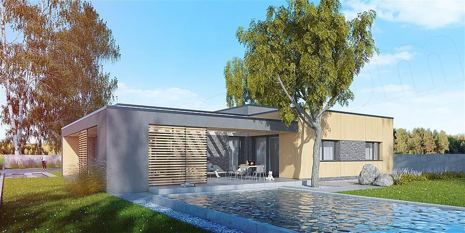 """Проект одноэтажного дома """"Роршер"""" с плоской кровлей 13 на 13 (287 м2) - Фасад 2"""