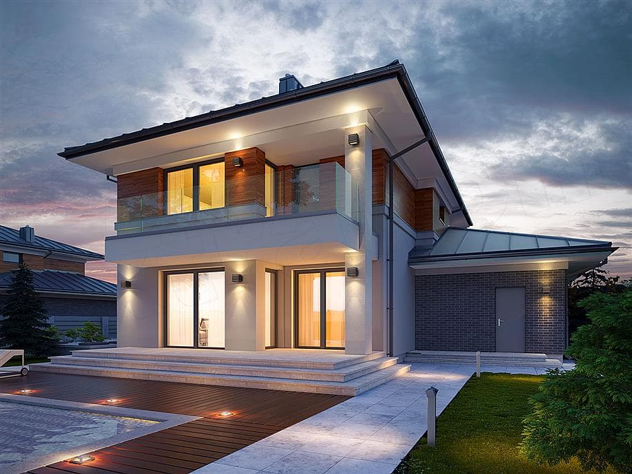 "Проект двухэтажного дома ""Манхет"" с гаражом на 2 авто 13 на 13 (193 кв. м.) - Фасад 2"