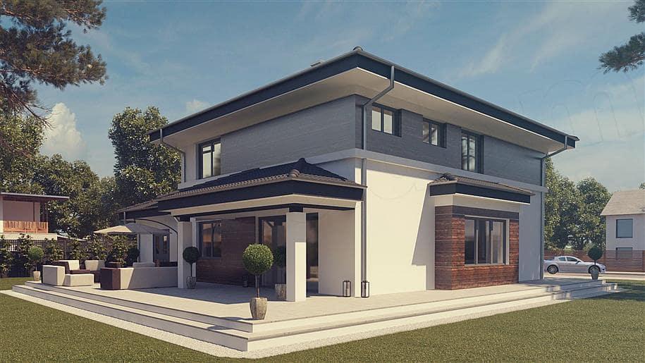 """Проект двухэтажного дома """"Шорох"""" с гаражом на 2 авто и 4 спальнями (163 кв.м.) - Фасад 1"""