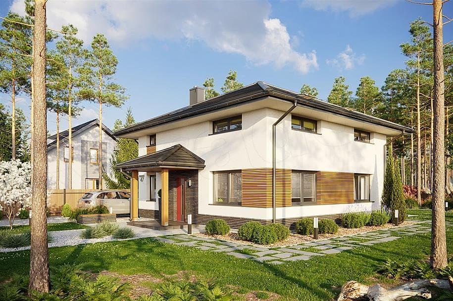 """Проект двухэтажного квадратного дома """"Краснин"""" из газобетона (200 м2) - Фасад 4"""