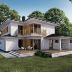 "Проект двухэтажного дома ""Опорус"" из кирпича с гаражом на 1 авто 18 на 10 (193 м2) - Фасад 2"