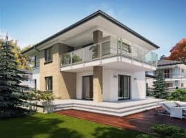 """Проект двухэтажного дома """"Тиктон"""" с балконом, террасой и панорамными окнами (156 кв.м.) - Фасад 1"""