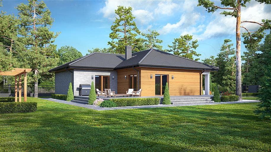 """Проект одноэтажного дома """"Лаймхак"""" с 3 спальнями (160 кв.м.) - Фасад 2"""