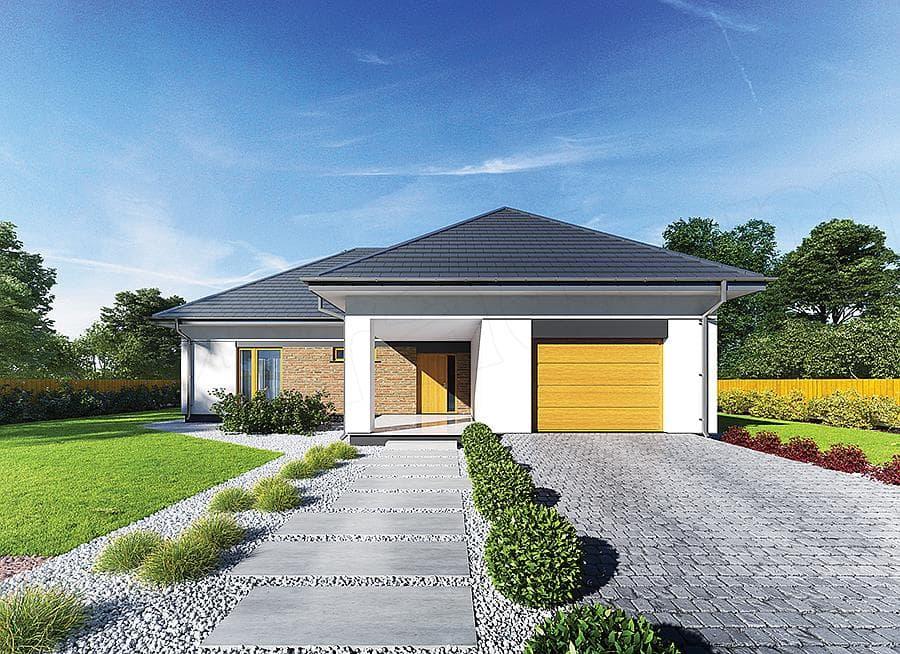 """Проект небольшого одноэтажного дома """"Мифрин"""" 15 на 14 (146 кв.м) - Фасад 4"""