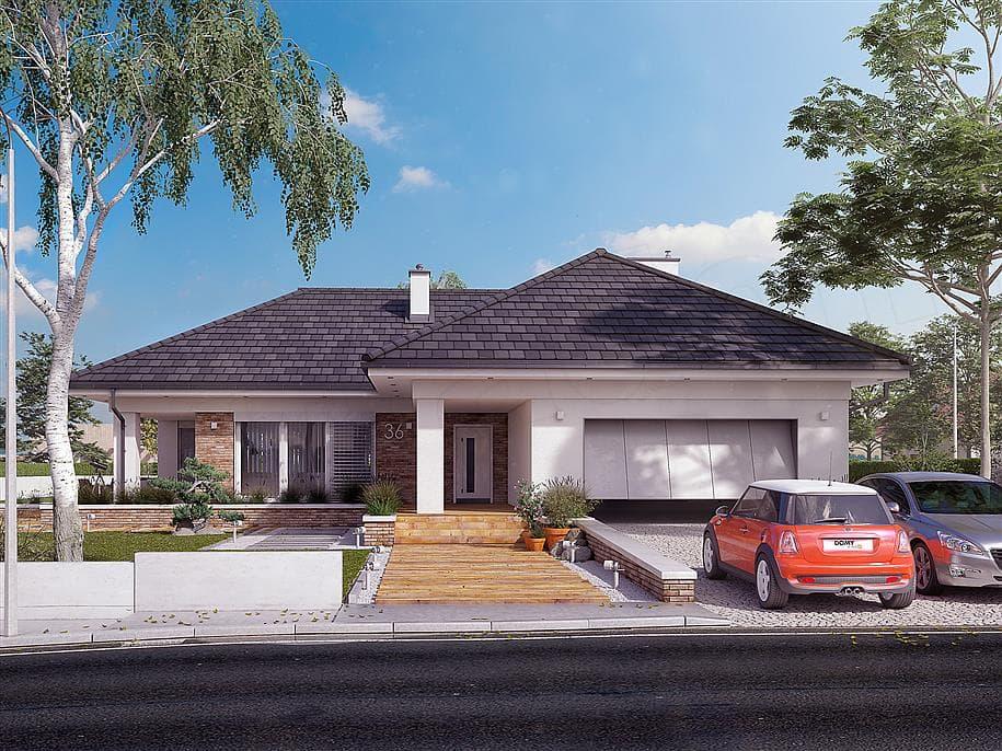"Проект одноэтажного дома ""Адамант"" из газобетона с гаражом (191 кв. м.) - Фасад 3"