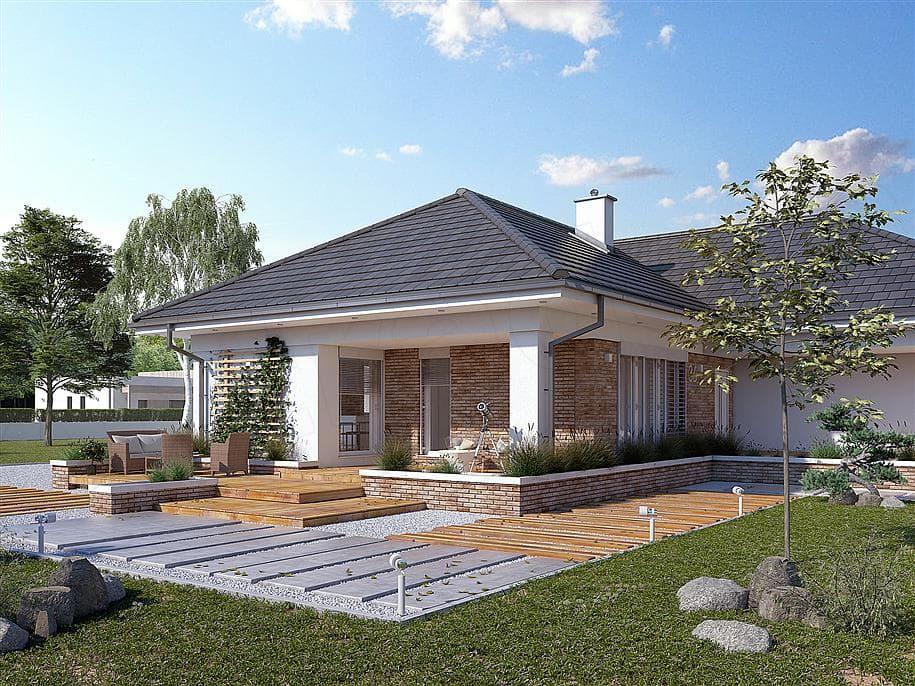 "Проект одноэтажного дома ""Адамант"" из газобетона с гаражом (191 кв. м.) - Фасад 1"